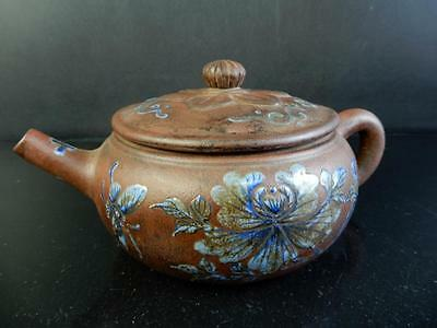 F4933: XF Chinese Brown pottery Flower Butterfly pattern TEAPOT Sencha,auto