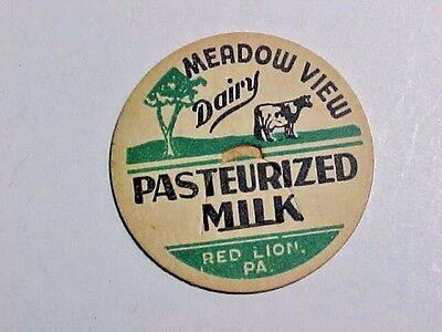 Vintage Milk Bottle Cap -  Meadow View Dairy Red Lion PA