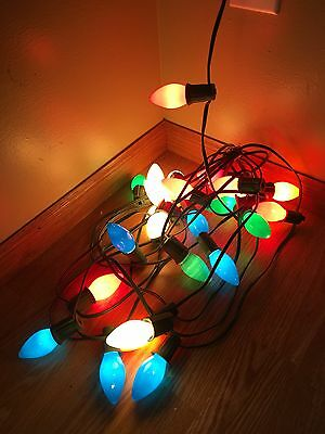 Vintage C9 Christmas light string and bulbs  blown fuse