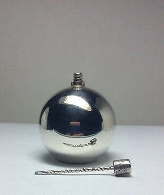 Vintage Solid Sterling Silver Golf Ball Sized Round Perfume Scent Bottle M8