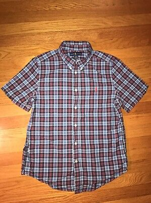 Ralph Lauren Polo Blue Red Plaid Short Sleeve Button Down Shirt Boy's Size XL