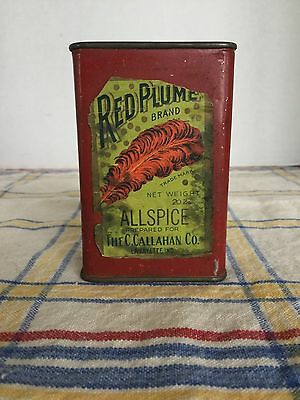 Antique Red Plume Brand Allspice Spice Tin Can With Paper Label C. Callahan Co.