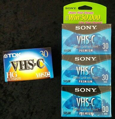 Lot of 4 Factory Sealed TDK & Sony Blank Camcorder Video Tapes