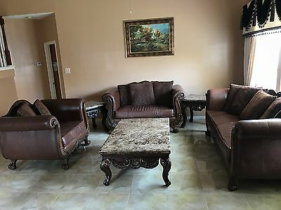 Living room furniture set including: 3 sofas, 2 small tables, 1 center table