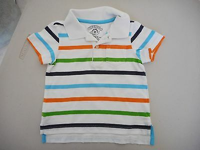 Size 1 - 2  Baby Toddler Boys Polo Shirt Cotton White with Stripes High Low Hem