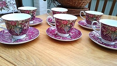 "Set of 6 ""Laura Ashley"" Vintage Bone China Tea Cups & Saucers ""Classic Deep Red"""