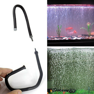 UK Fish Tank Aquarium Plastic Air Oxygen Stone Bubble Wall Tube Black 30CM
