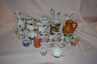 Collection of 22 Miniature Porcelain pottery jugs