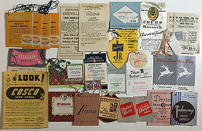 Mixed Lot of 29 Vintage Product Tags / Labels, Clothing, House Goods, Etc. 1950s