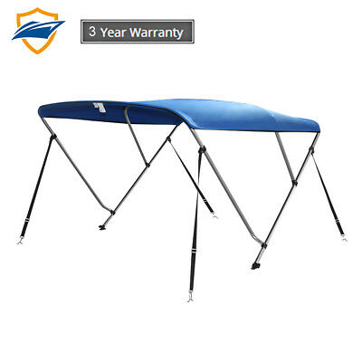 "3Bow Bimini Boat Top Cover with storage boot, Color Blue, 6'L x 46""H x85""-90""W"