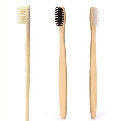 1x Environmental Wooden Bamboo Toothbrush Friendly Bristle Biodegradable Handle