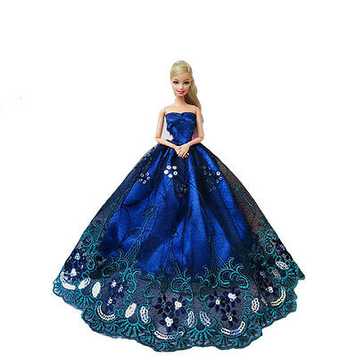Wedding Elegant Dress Embroidery Clothes Party Blue For Lace Barbie Gown Doll