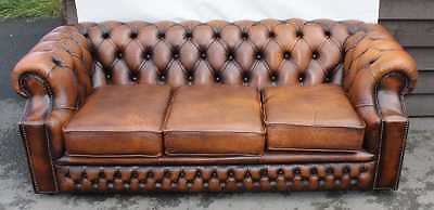 Beautiful Quality Brown 1960's  Chesterfield 3 seat Leather Buttoned sofa
