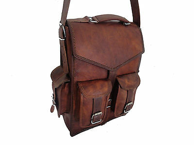 Mens Vintage Genuine Leather Laptop Backpack Rucksack Messenger Bag Satchel NEW