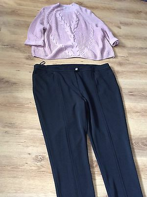Ladies Black Thick Trousers And Pink Jumper Size 24