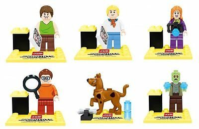 6pcs Set Scooby Doo Lot Shaggy Fred Daphne Zombie Figures Blocks Bricks Toy Gift