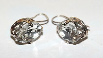 AWESOME Shining Earrings Silver Gold plated 875 USSR Antique