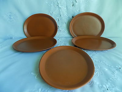Devon Honiton Pottery Rust Orange  5 x Steak Oval Plates