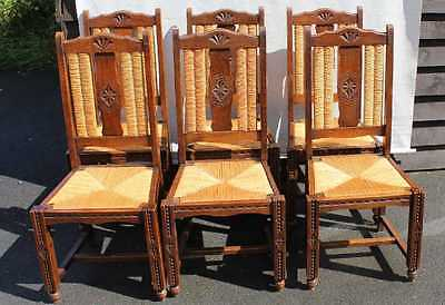 Set 6 Oak Carved High Back Dining Chairs with Rush Seats 1920's