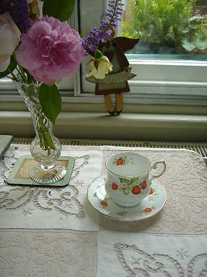 """Queens Cup & Saucer """" Virginia  Strawberry """" English Fine Bone China."""