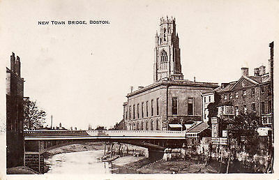 """Postcard Lincolnshire Boston """"new Town Bridge^  Rp Dated 1915Address Redacted"""