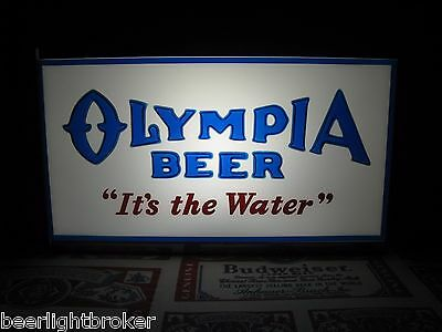 """ANTIQUE VTG 50's OLYMPIA BEER """"IT'S THE WATER"""" 3-D LOGO IN MOTION Bar Light Sign"""