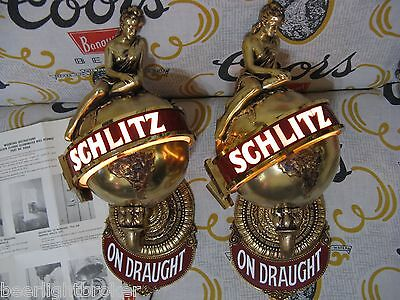 "New Pair Vtg 1975 Schlitz Beer "" Ladies On Top "" Bar Light Pub Sign Set Awesome!"
