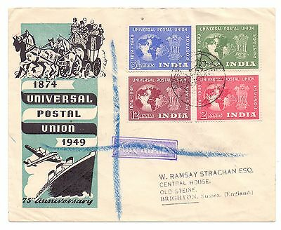 India 1949 Upu Private Fdc Registered To England