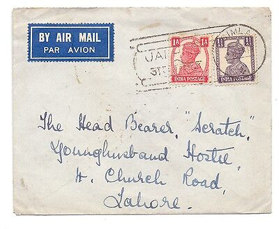 India 1947 Cover Jai Hind 1947 Special Cancel From Simla To Lahore Delivery Cds