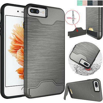 Hybrid armor defender phone case for iPhone 7 plus shockproof stand card cover