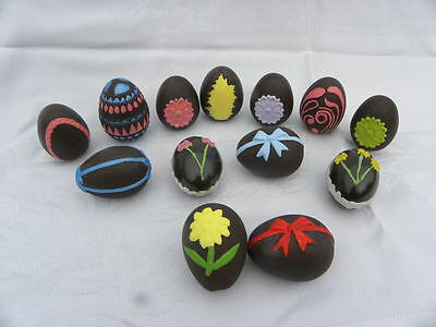 """13 Vintage Hand Painted Ceramic """"Chocolate"""" Easter Eggs"""