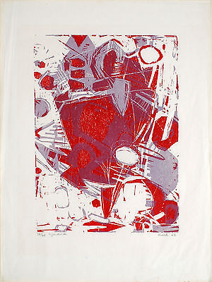 Heinz Kreutz, Rot - Blauviolett, Colour Woodcut, Handsigned, numbered, dated, sp