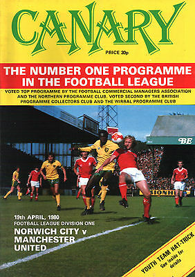 1979/80 Norwich City v Manchester United, Division 1, PERFECT CONDITION