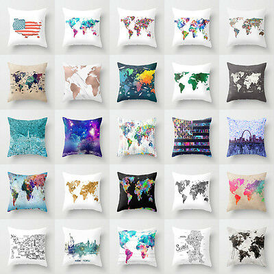 18'' World Map polyester cushion cover sofa throw pillows case Home Decorative
