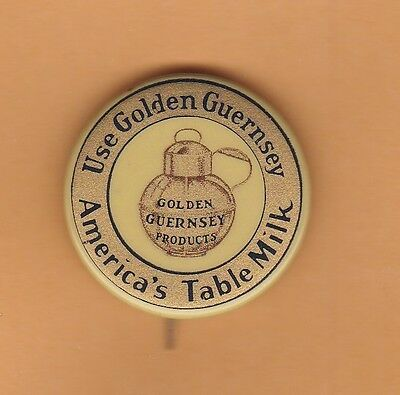 "Vintage Golden Guernsey pinback, America's Table Milk, Peterboro NH 1.25"" wide"