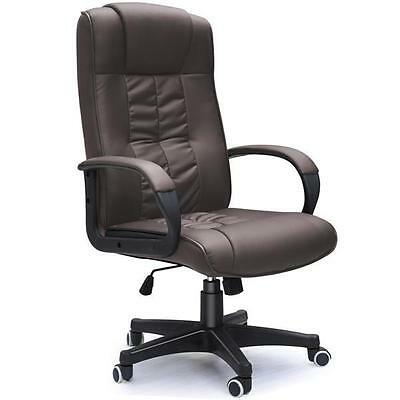 Brown PU Leather Office Chair PC Computer Desk Furniture High Back Executive New