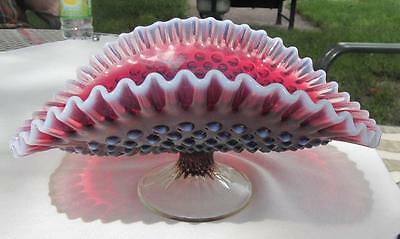 Fenton Plum Opalescent Hobnail Footed Banana Boat Footed Bowl
