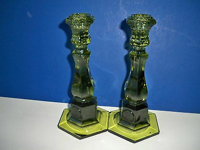 2 Olive Green Fostoria Tall COIN DOT Candlesticks