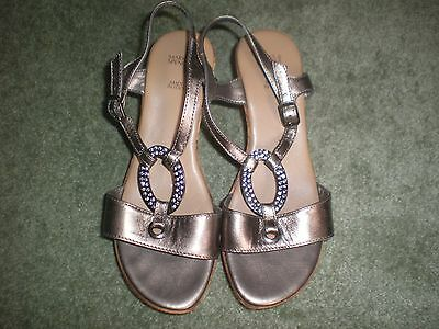 M&s Gold Leather/diamante Strappy Sandals,2.5Ins Wedge Heels, 3