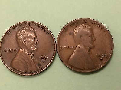 """1931 """"D"""" and 1933 """"D""""  Lincoln cents, TOUGHER DATES and NICE COINS!  LOOK!!!!!!!"""