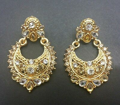 New Bollywood Elegant Small Indian Earrings costume in gold jewellery