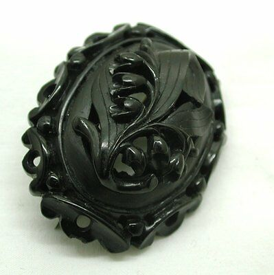 Victorian Lovely Large Carved Whitby Jet Lily Of The Valley Brooch