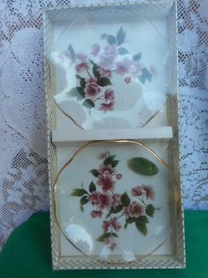 Vintage CHANCE GLASS FLORAL DISHES X 2! in original box!