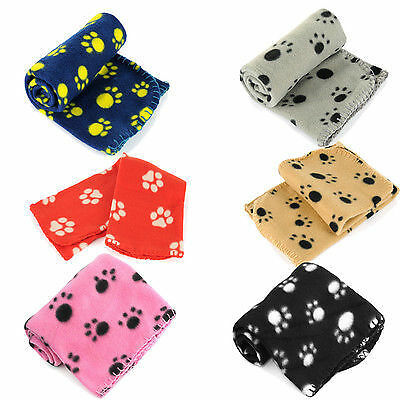Paw Print Soft Handcrafted Pet Puppy Dog Cat Fleece Blanket Mat Cover 70 x 70 cm