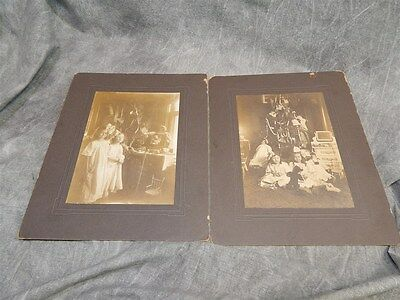 PAIR of c 1900 Leola and Dorothy Christmas Morning Photographs~ too cool !!!