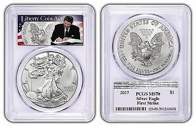 2017 1oz Silver Eagle PCGS MS70 - First Strike - Liberty Coin Act Label