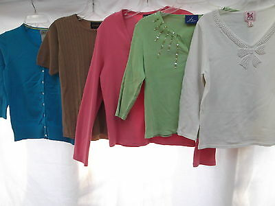 vtg lot of 5 knit v-neck pearl beaded shirt cardigan sweater M LLBean NY&Co MINT
