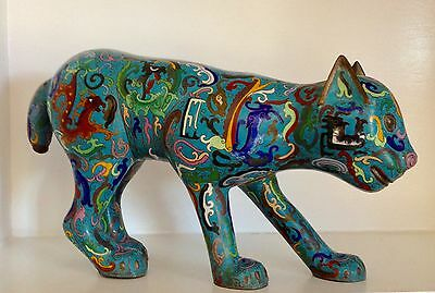 "Rare Superb Large Republic or Qing 17"" Chinese Cloisonne Blue CAT Statue Figure"