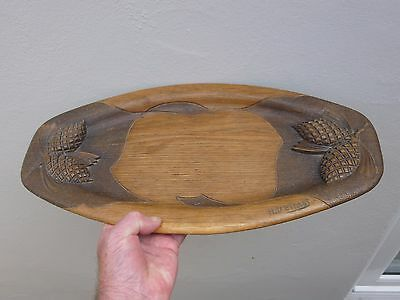 An Antique Signed Carved Oak Bread Plate/Board c1910/20s