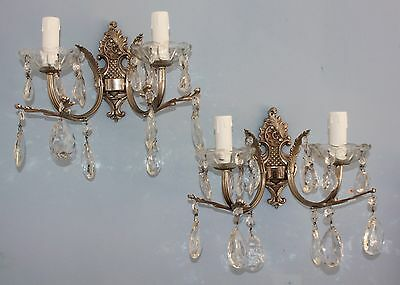 Pair Antique  Rococo Style Silver Gilt Metal & Glass Crystal Double Wall Lights